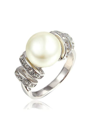 Fashionable Platinum Plated Artificial Pearl Ring