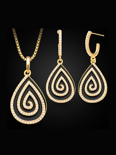 18K Water Drop shaped Rhinestones Two Pieces Jewelry Set