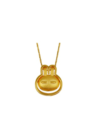 Copper Alloy 24K Gold Plated Creative Bunny Necklace
