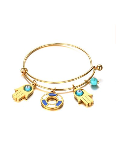 All-match Gold Plated Palm Shaped Turquoise Bangle