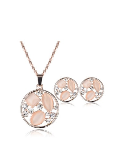 Alloy Rose Gold Plated Fashion Opals Round-shaped Two Pieces Jewelry Set