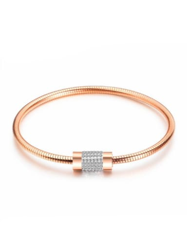 Stainless Steel With Rose Gold Plated Simplistic Magnetic ring buckle Geometric Bangles