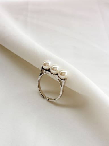 925 pure silver synthetic pearl free size ring