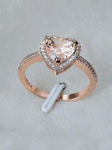 Copper With  Cubic Zirconia Simplistic Heart Band Rings