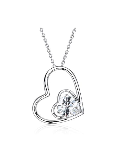 Simple Swarovski Crystal Hollow Heart-shaped Pendant 925 Silver Necklace