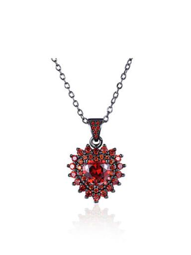 Fashion Heart shaped Zircon Gun Plated Necklace