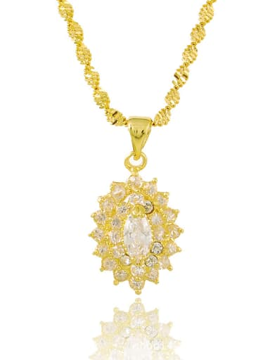 Exquisite 24K Gold Plated Geometric Shaped Rhinestone Necklace
