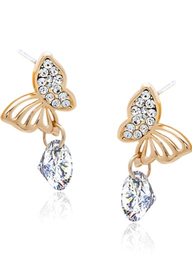 Zinc Alloy With Gold Plated Fashion Butterfly Stud Earrings
