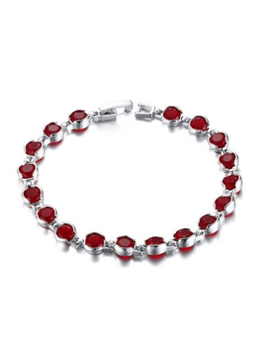 All-match Red Round Shaped AAA Zircon Copper Bracelet