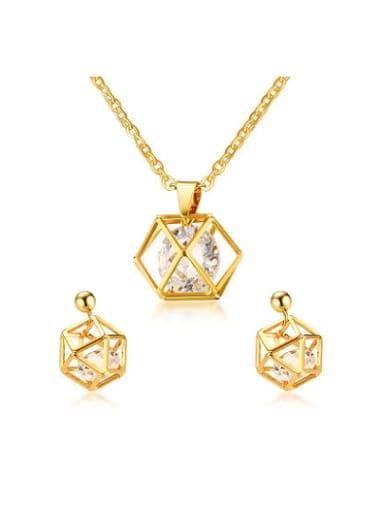 Luxury Gold Plated Geometric Zircon Two Pieces Jewelry Set
