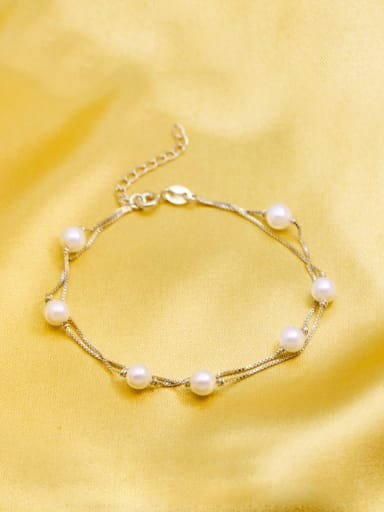 All-match Double Layer Artificial Pearl S925 Silver Bracelet