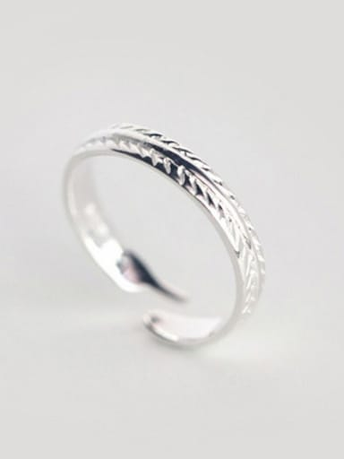 S925 silver fashion leaves opening Midi Ring