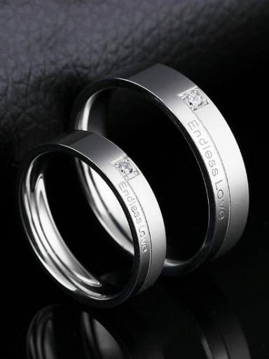 Fashion Endless Love Titanium Rhinestones Lovers Ring