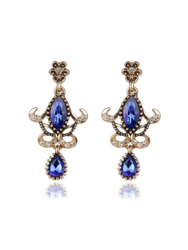 Noble Retro style Glass stones Alloy Drop Earrings
