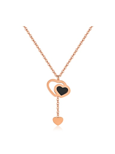 Simple Heart Rose Gold Plated Titanium Necklace
