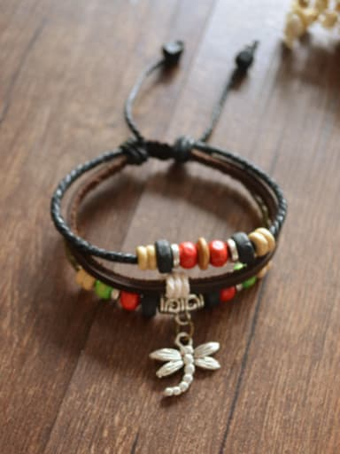 Retro Dragonfly Shaped Cownhide Leather Bracelet