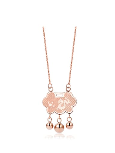 Retro Pattern Dragon Zodiac Lock Titanium Rose Gold Necklace