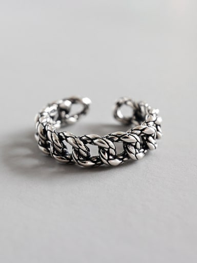 Sterling Silver Antique woven chain free size ring