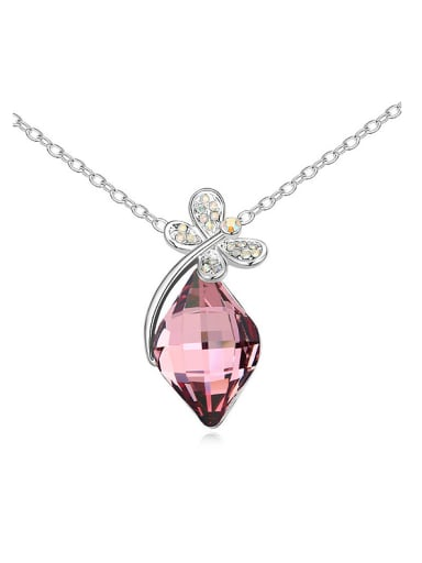 Exquisite Rhombus Swarovski Crystal Shiny Dragonfly Alloy Necklace