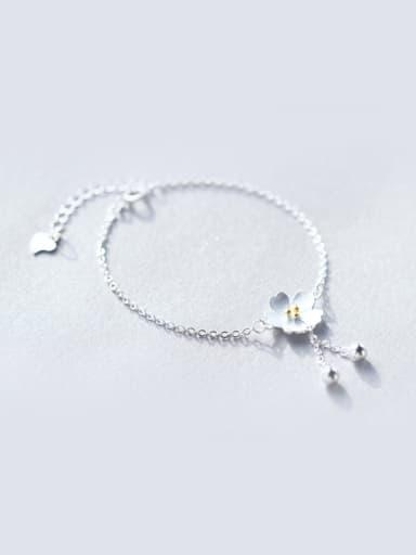 S925 Silver Tassel Cherry Blossom Fashionable Bracelet