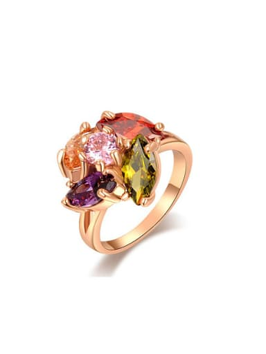 Colorful AAA Zircon Rose Gold Plated Ring