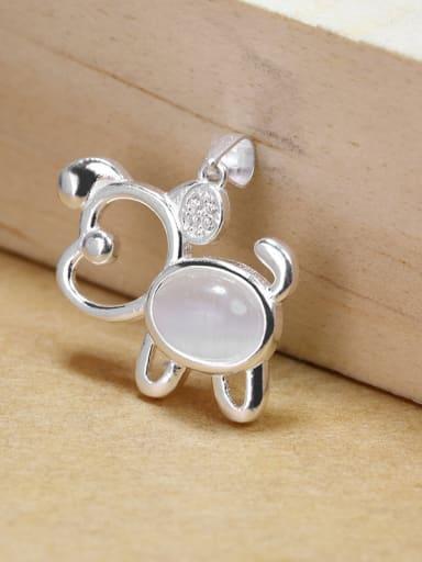 Personalized Oval Stone Zodiac Dog 925 Silver Pendant