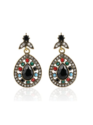 Retro style Colorful Resin stones Water Drop shaped Alloy Earrings