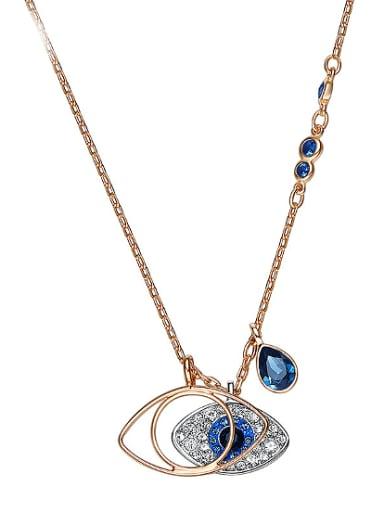 Fashion Eye-shaped Zircon Gold Plated Necklace