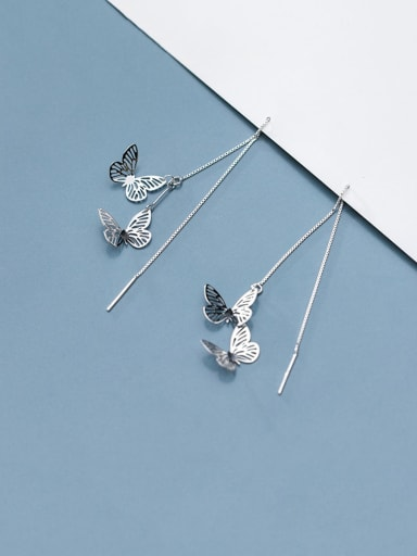 925 Sterling Silver With Platinum Plated Simplistic Hollow Butterfly Threader Earrings