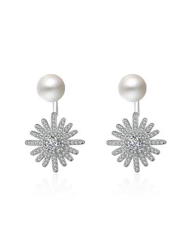 Fashion Shiny Zirconias Flower Imitation Pearl Stud Earrings