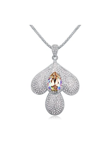 Fashion Swarovski Crystals-covered Clover Pendant Alloy Sweater Chain