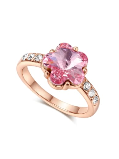 Noble Pink Crystal Flower Shaped Copper Ring
