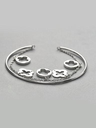 Personalized Four-leaf Clovers 925 Silver Bracelet