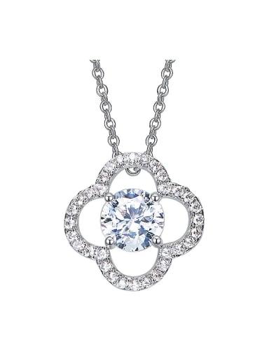Simple Swarovski Crystal Flowery Zircon Necklace