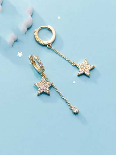 925 Sterling Silver With Gold Plated Simplistic Star Clip On Earrings