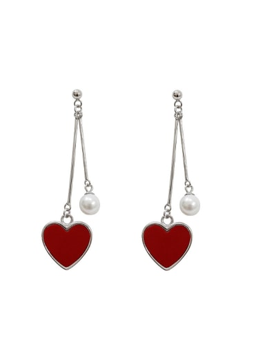 Fashion Artificial Pearl Red Heart Silver Drop Earrings