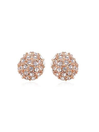 Elegant Round Shaped Austria Crystal Stud Earrings