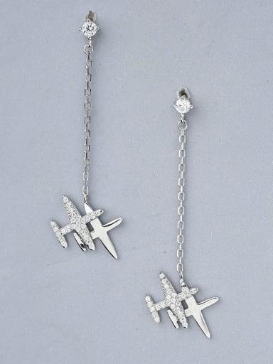 925 Silver Airplane Shaped Zircon Earrings
