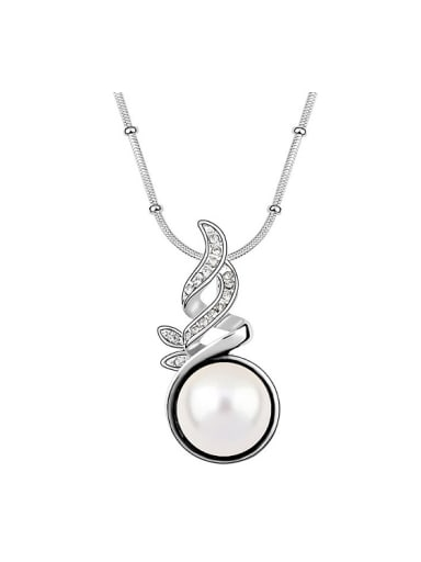 Fashion Imitation Pearl Shiny Pendant Alloy Necklace