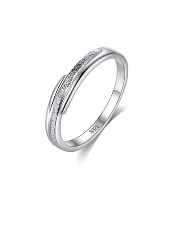 925 Sterling Silver With Platinum Plated Simplistic Line Band Rings