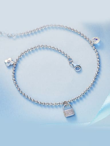 Locket Shaped S925 Silver Anklet