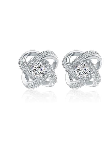 Micro Pave Zircon Amethyst Stud Earrings