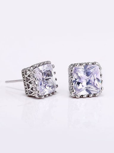 Simple Square Zircon Platinum Plated Copper Stud Earrings