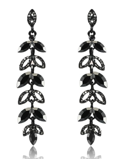 Stainless Steel With Inserted drill  Luxury Leaf Earrings