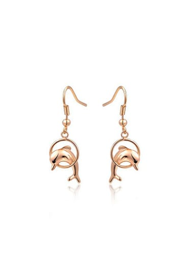 Lovely Dolphin Shaped Austria Crystal Drop Earrings