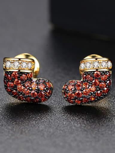 Copper inlaid AAA zircon new boots Earrings