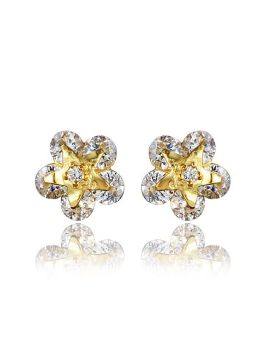 Shining 18K Gold Flower Shaped Zircon Stud Earrings