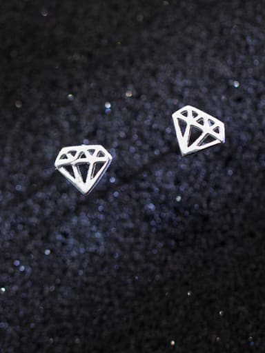 All-match Hollow Diamond Shaped S925 Silver Stud Earrings