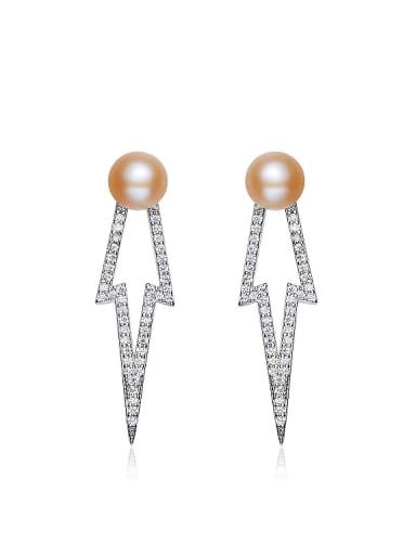 Personalized Freshwater Pearl Zircon Stud Earrings