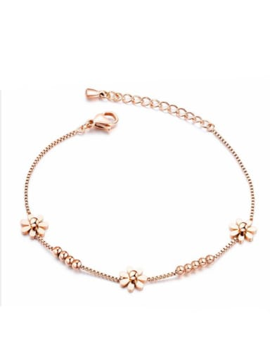Stainless Steel With Rose Gold Plated Cute Flower Bracelets